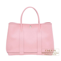 Hermes Garden Party bag PM Rose sakura Country leather Silver hardware