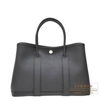 Hermes Garden Party bag TPM Black Country leather Silver hardware