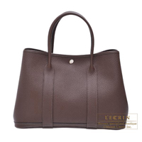 Hermes Garden Party bag PM Moka Country leather Silver hardware