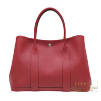Hermes Garden Party bag PM Rouge grenat Country leather Silver hardware