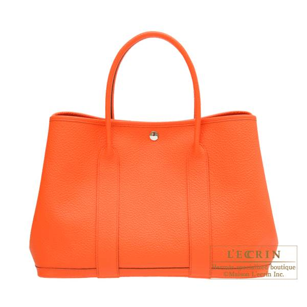 Hermes Garden Party bag PM Manufacture de Boucleries Orange poppy Country leather Silver hardware