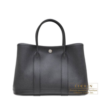 Hermes Garden Party bag TPM Black Epsom leather Silver hardware