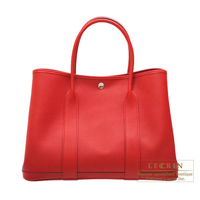 Hermes Garden Party bag PM Rouge casaque Epsom leather Silver hardware