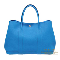 Hermes Garden Party bag PM Blue zanzibar Negonda leather Silver hardware