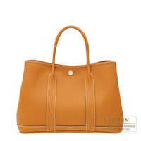 Hermes Garden Party bag TPM Toffee Country leather Silver hardware