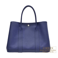 Hermes Garden Party bag PM Blue saphir Epsom leather Silver hardware