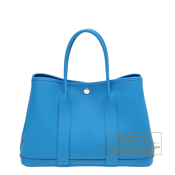Hermes Garden Party bag TPM Blue zanzibar Negonda leather Silver hardware