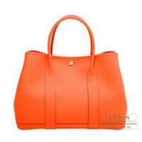 Hermes Garden Party bag PM Camails Orange poppy Country leather Silver hardware