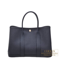 Hermes Garden Party bag TPM Blue indigo Epsom leather Silver hardware
