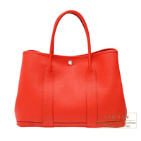 Hermes Garden Party bag PM Rouge tomate Country leather Silver hardware