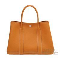 Hermes Garden Party bag PM Toffee Negonda leather Silver hardware