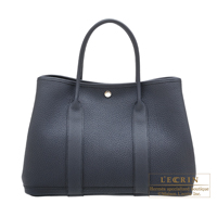 Hermes Garden Party bag PM Camails Blue indigo Negonda leather Silver hardware