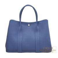 Hermes Garden Party bag PM Blue brighton Negonda leather Silver hardware