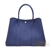 Hermes Garden Party bag PM Blue saphir Country leather Silver hardware