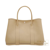 Hermes Garden Party bag PM Trench Country leather Silver hardware