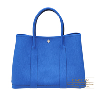 Hermes Garden Party bag PM Blue zellige Country leather Silver hardware