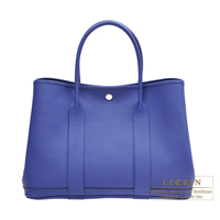 Hermes Garden Party bag PM Blue electric Country leather Silver hardware