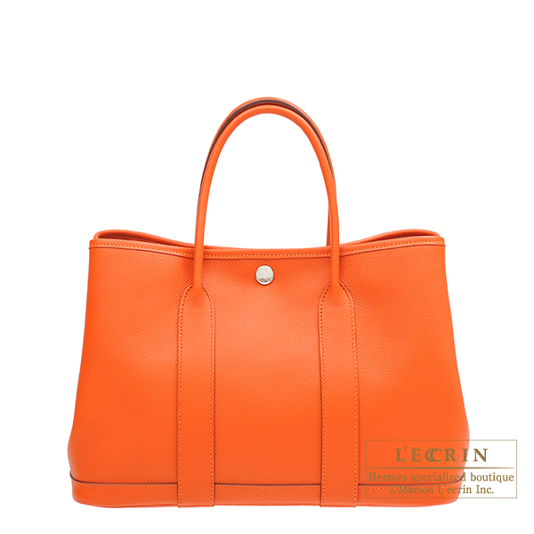 Hermes Garden Party bag TPM Feu Epsom leather Silver hardware