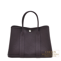 Hermes Garden Party bag TPM Raisin Negonda leather Silver hardware