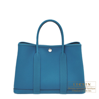Hermes Garden Party bag TPM Blue izmir Negonda leather Silver hardware