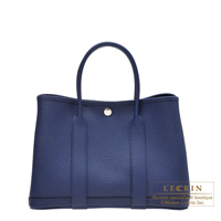 Hermes Garden Party bag TPM Blue saphir Country leather Silver hardware