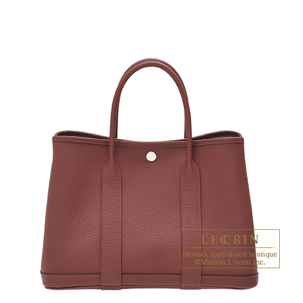 Hermes Garden Party bag TPM Rouge H Country leather Silver hardware