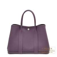 Hermes Garden Party bag TPM Cassis Negonda leather Silver hardware
