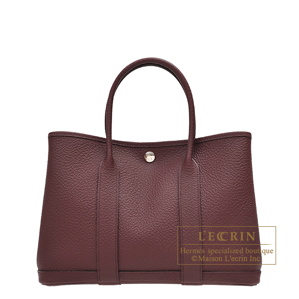 Hermes Garden Party bag TPM Bordeaux Country leather Silver hardware