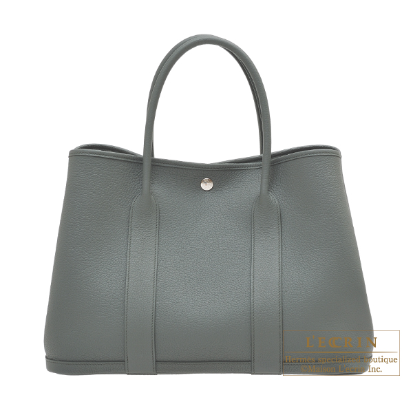 Hermes Garden Party bag PM Vert amande Negonda leather Silver hardware