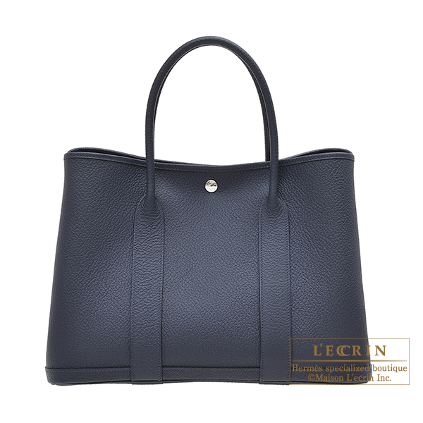 Hermes Garden Party bag PM Blue nuit Country leather Silver hardware