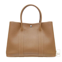 Hermes Garden Party bag PM Alezan Negonda leather Silver hardware