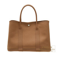 Hermes Garden Party bag PM Alezan Cotton canvas Silver hardware