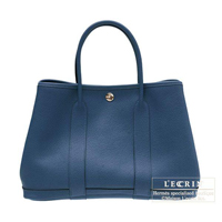 Hermes Garden Party bag PM Blue de malte Buffalo sindou leather Silver hardware