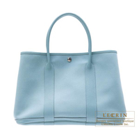 Hermes Garden Party bag PM Ciel Cotton canvas Silver hardware