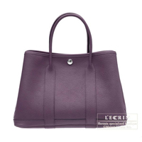Hermes Garden Party bag PM Cassis Fjord leather Silver hardware