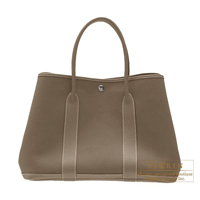 Hermes Garden Party bag PM Etoupe grey Cotton canvas Silver hardware