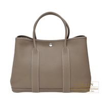 Hermes Garden Party bag PM Etoupe grey Negonda leather Silver hardware