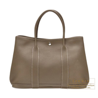Hermes Garden Party bag PM Etoupe grey Buffalo sindou leather Silver hardware