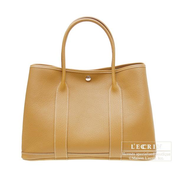 Hermes Garden Party bag PM Natural sable Fjord leather Silver hardware
