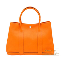 Hermes Garden Party bag PM Orange Negonda leather Silver hardware