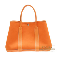 Hermes Garden Party bag PM Orange Cotton canvas Silver hardware