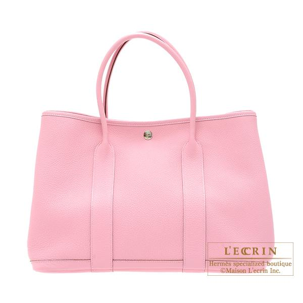 Hermes Garden Party bag PM Pink Buffalo sindou leather Silver hardware