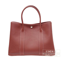 Hermes Garden Party bag PM Rouge H Negonda leather Silver hardware