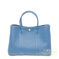 Hermes Garden Party bag TPM Azur Buffalo sindhu leather Silver hardware