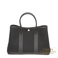 Hermes Garden Party bag TPM Black Cotton canvas Silver hardware