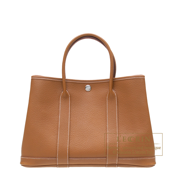 Hermes Garden Party bag TPM Gold Negonda leather Silver hardware