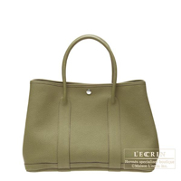 Hermes Garden Party bag TPM Lichen Fjord leather Silver hardware