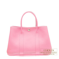 Hermes Garden Party bag TPM Pink Buffalo sindhu leather Silver hardware