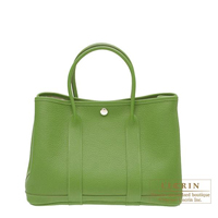 Hermes Garden Party bag TPM Pelouse Negonda leather Silver hardware