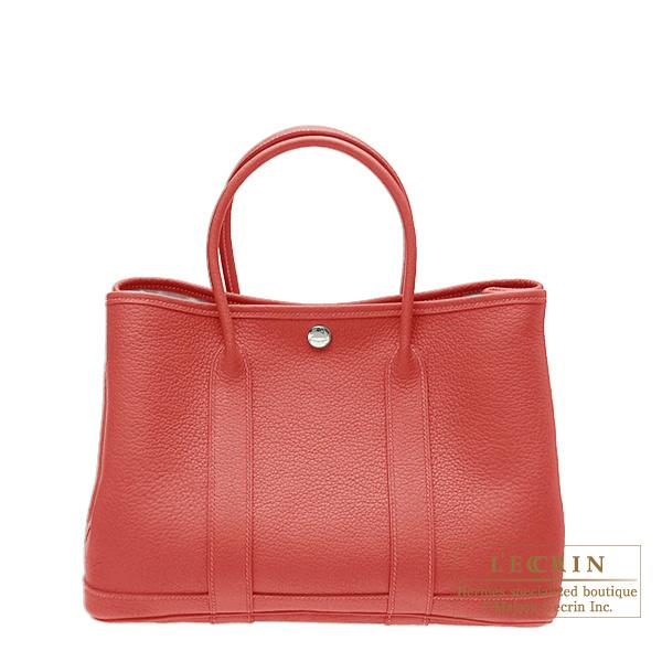Hermes Garden Party bag TPM Rouge venitienne Buffalo sindhu leather Silver hardware